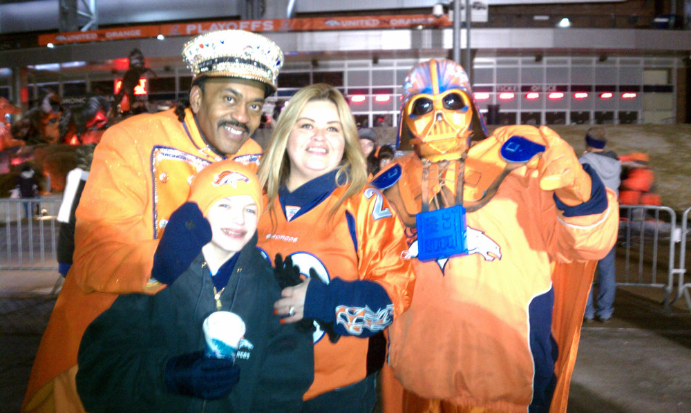 . Having fun with Bronco fans