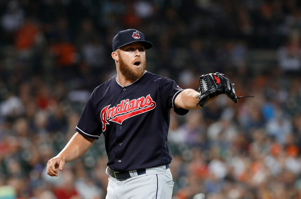 . Cleveland Indians relief pitcher Cody Allen reacts to the final out in the seventh inning of a baseball game against the Detroit Tigers in Detroit, Friday, July 27, 2018. (AP Photo/Paul Sancya)