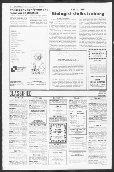 Daily Trojan, Vol. 64, No. 25, October 27, 1971