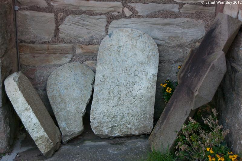 Gravestones from Lindesfarne graveyard - 1686 date is visible