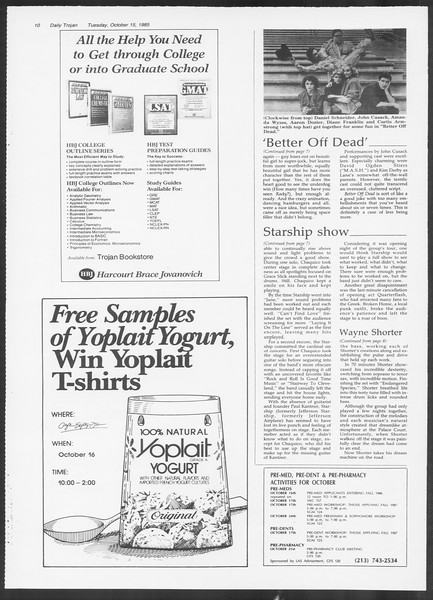 Daily Trojan, Vol. 100, No. 31, October 15, 1985