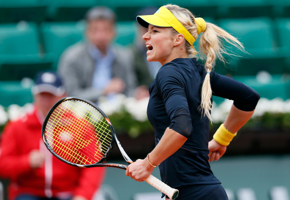 . Russia\'s Maria Kirilenko reacts after a point against USA\'s Bethanie Mattek-Sands during a French tennis Open round of 16 match at the Roland Garros stadium in Paris on June 3, 2013.  PATRICK KOVARIK/AFP/Getty Images