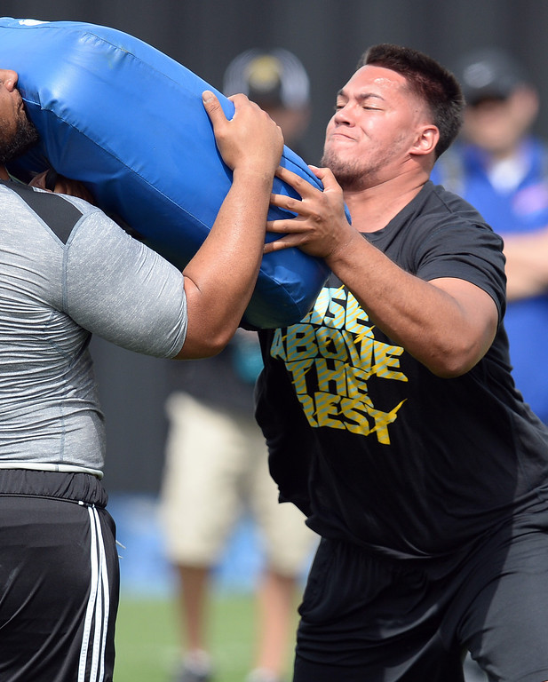 . Xavier Su\'a-Filo demonstrates his skills during UCLA Football Pro Day at Spaulding Field on the UCLA campus Tuesday, March 11, 2014. (Photo by Hans Gutknecht/Los Angeles Daily News)