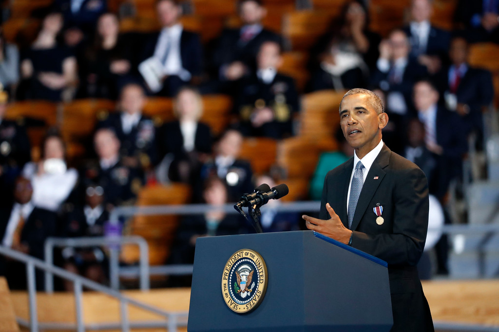 . President Barack Obama speaks during an Armed Forces Full Honor Farewell Review for the president, Wednesday, Jan. 4, 2017, at Conmy Hall, Joint Base Myer-Henderson Hall, Va. (AP Photo/Alex Brandon)