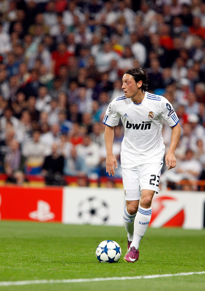 Ozil controlling the ball, UEFA Champions League Semifinals game between Real Madrid and FC Barcelona, Bernabeu Stadiumn, Madrid, Spain