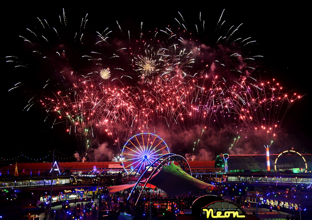 . Fireworks explode at the 17th annual Electric Daisy Carnival at Las Vegas Motor Speedway on June 23, 2013 in Las Vegas, Nevada.  (Photo by Ethan Miller/Getty Images)