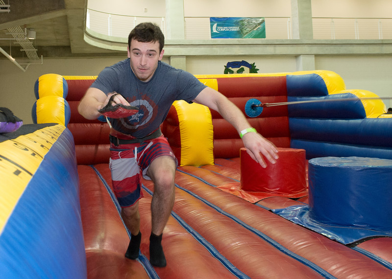 Student Trevor Garbe takes part in the activities on Friday Fiesta.