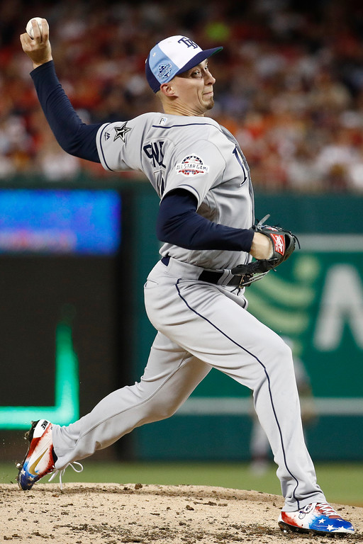 . Tampa Bay Rays pitcher Blake Snell (4) throws during the third inning of the Major League Baseball All-star Game, Tuesday, July 17, 2018 in Washington. (AP Photo/Patrick Semansky)