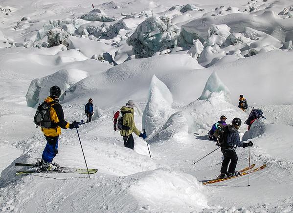 Ski rides on the Alps