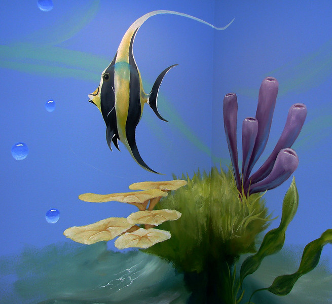 detail of 'aquarium mural' for children's room