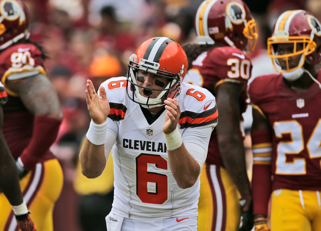 . Cleveland Browns quarterback Cody Kessler (6) celebrates after a touchdown pass during the first half of an NFL football game against the Washington Redskins, Sunday, Oct. 2, 2016, in Landover, Md. (AP Photo/Mark Tenally)