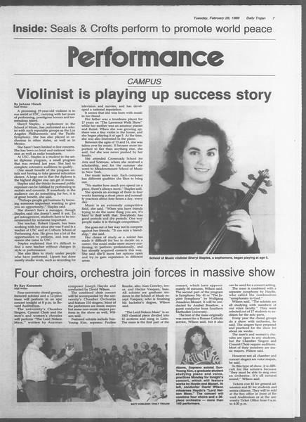 Daily Trojan, Vol. 108, No. 31, February 28, 1989