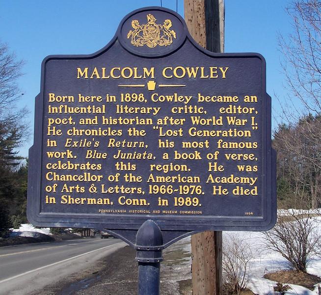 Malcolm Cowley Marker