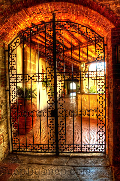 Fiesole, Italy – Sacred Gate – This iron gate is simply temptation to any explorer.  Inside was a private garden for the monks.  Truly a place to silently contemplate or read.  For tourist, this was the closest that we would get to this part of the monastery.  When processed in HDR, the rich colors of the brick came out.