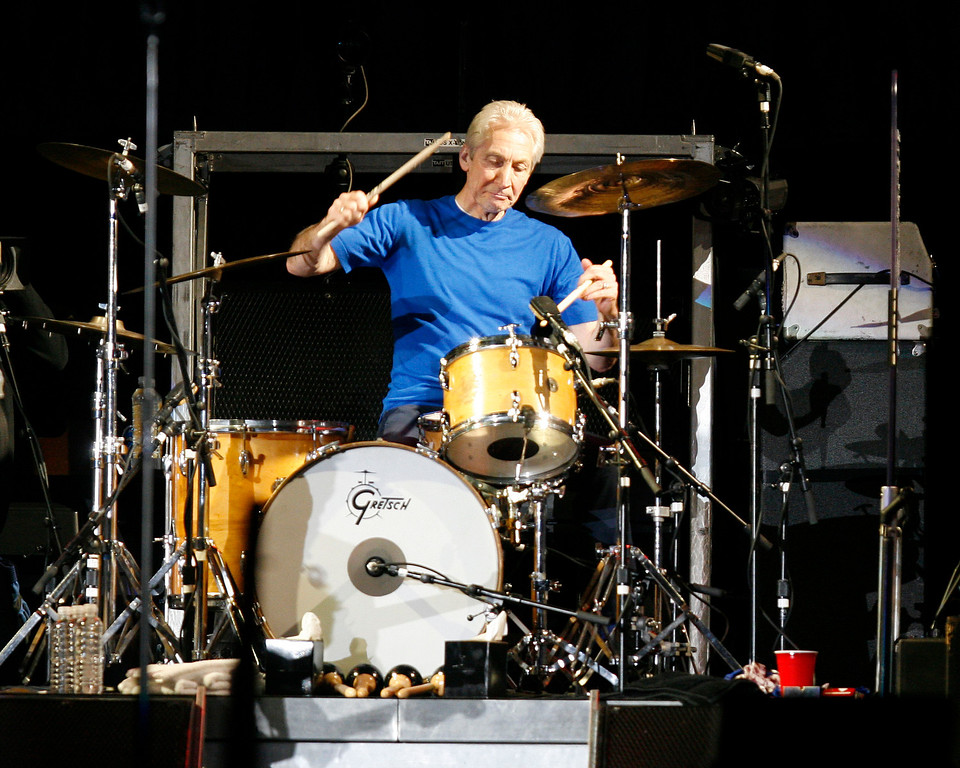 . The Rolling Stones drummer Charlie Watts performs with the band at Gillette Stadium in Foxborough, Mass., on Wednesday, Sept. 20, 2006 as they kick off the second half of the A Bigger Bang Tour in the United States. (AP Photo/Robert E. Klein)