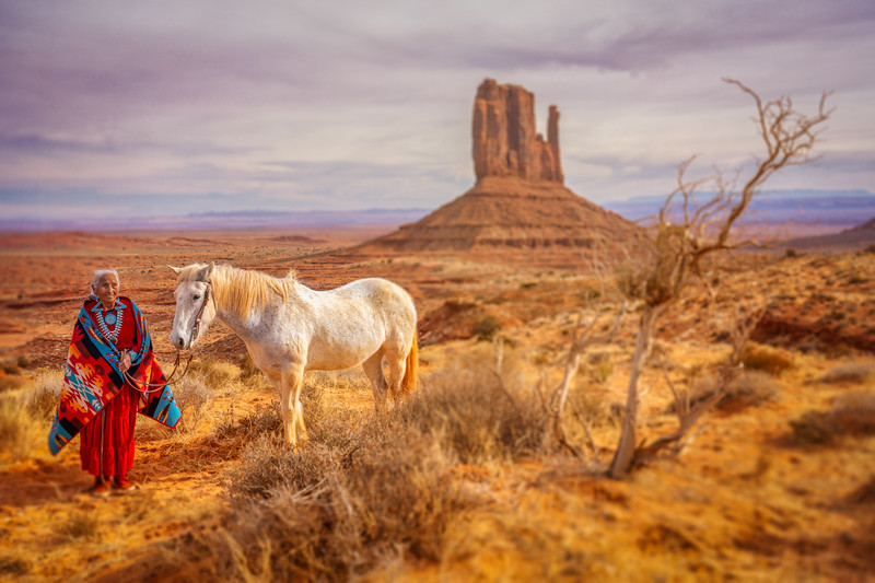 Elder Navajo Female and Horse, Monument Valley