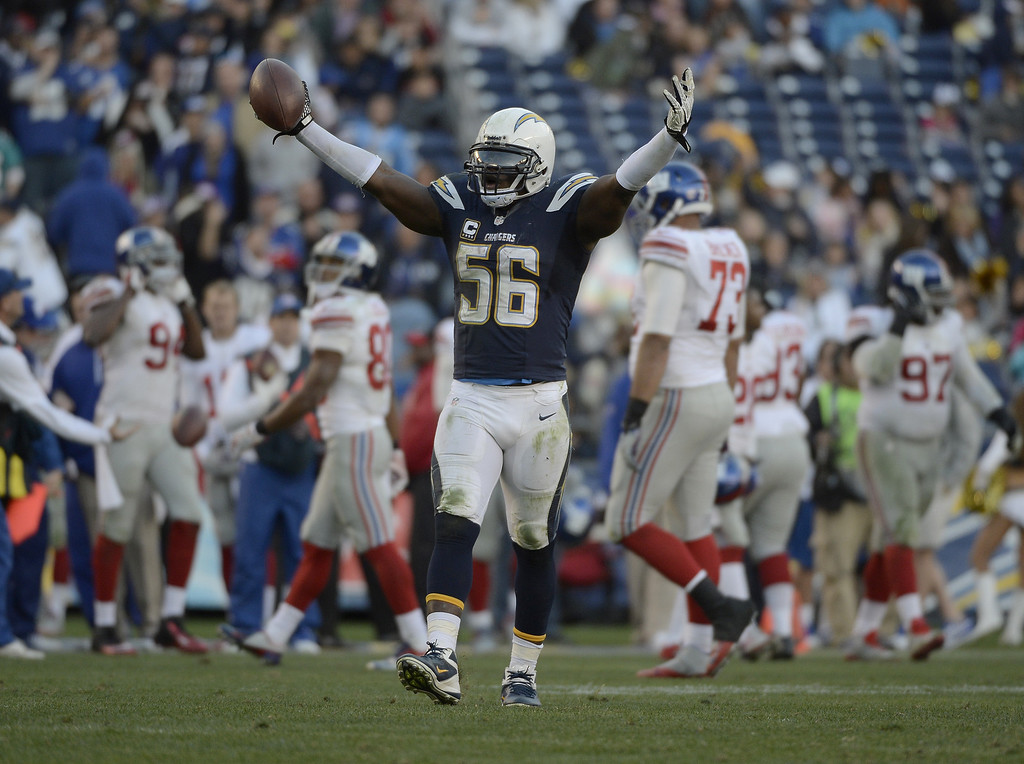 . SAN DIEGO, CA - DECEMBER 8:  Donald Butler #56 of the San Diego Chargers intercepts the ball against the New York Giants during their game on December 8, 2013 at Qualcomm Stadium in San Diego, California. (Photo by Donald Miralle/Getty Images)