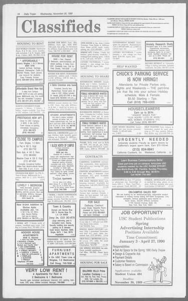 Daily Trojan, Vol. 110, No. 58, November 29, 1989