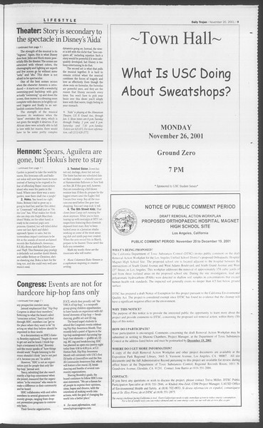 Daily Trojan, Vol. 144, No. 58, November 20, 2001