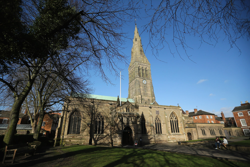 . A general view of Leicester Catherdral, close to where the body of Richard III was discovered, on February 4, 2013 in Leicester, England. The University of Leicester has been carrying out scientific investigations on remains found in a car park to find out whether they are those of King Richard III since last September, when the skeleton was discovered in the foundations of Grey friars Church, Leicester. King\'s Richard III\'s remains are to be interned at Leicester Catherdral.  (Photo by Dan Kitwood/Getty Images)