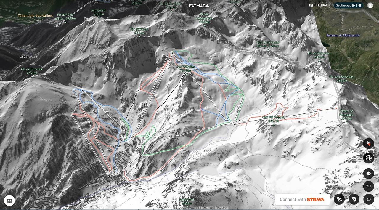Mapa de pistas de esquí de FATMAP