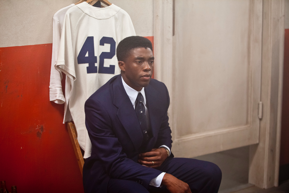 ". CHADWICK BOSEMAN as Jackie Robinson in Warner Bros. Pictures and Legendary Pictures� drama � ""42\"" a Warner Bros. Pictures release."