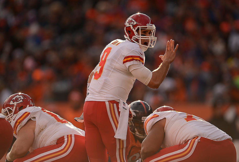 Description of . Kansas City Chiefs quarterback Brady Quinn (9) calls a play at the line as the Denver Broncos took on the Kansas City Chiefs at Sports Authority Field at Mile High in Denver, Colorado on December 30, 2012. John Leyba, The Denver Post