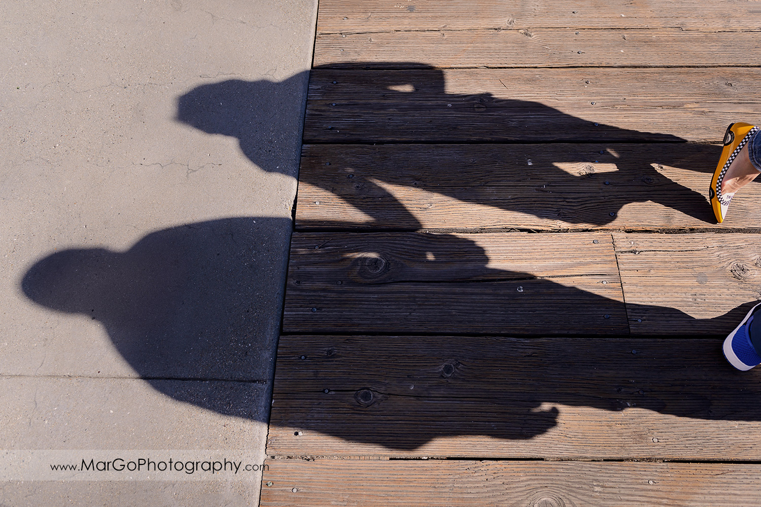engagement session at Pier 1 in San Francisco - shoes and shadows