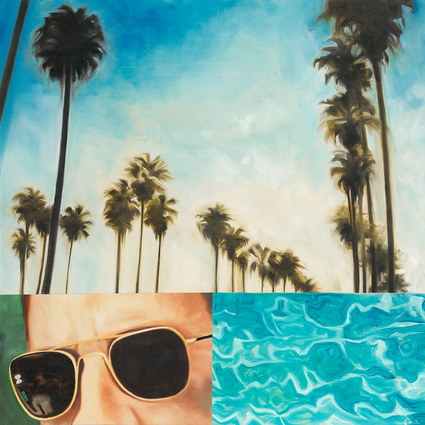 "Hollywood Palms-Haxton, 40""x40"" oil painting on loose canvas"
