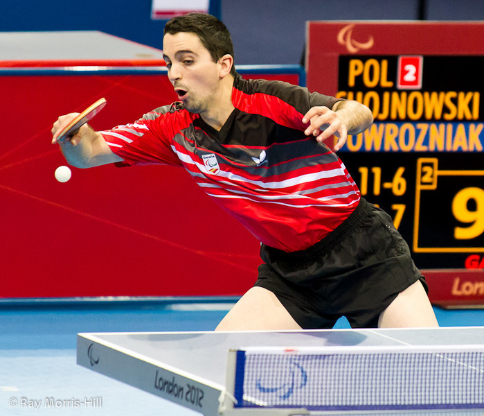Table Tennis at Excel, 7 September 2012. Spain lost to Poland in their Men's Team Class 9-10 semi-final. Jorge Cardona in action.
