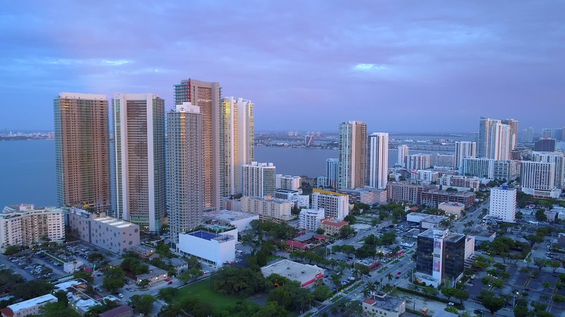 Aerial b roll footage Midtown Edgewater Miami 4k 24p