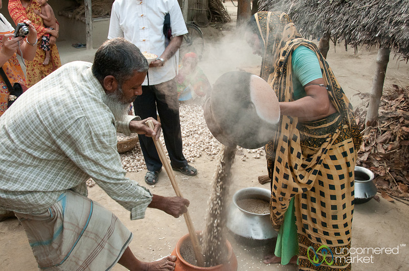 Pouring Out Popped Rice and Sand - Hatiandha, Bangladesh