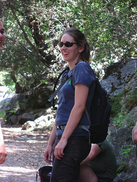 Katy is happy on our hike up to Glacier Point, via the 4 mile trail (really 5 miles)