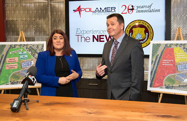 10/30/19 Wesley Bunnell | StaffrrPolamer Precision announced its plan to purchase 27 acres of space in the city's business park for $1.1 million in an expansion which could bring hundreds of jobs to New Britain. Mayor Erin Stewart and Polamer's CEO Chris Galik stand with renderings of the planned expansion.