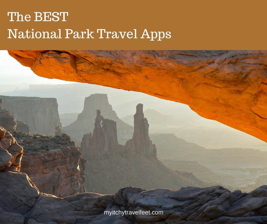 Text on photo: The BEST National Park Apps. Photo: Sunrise on Mesa Arch with stone formations in the distance.
