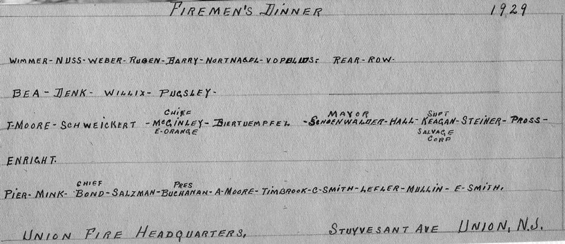 A list of the attendees pictured in the previous photo at the 1929 Fireman's Dinner held at fire headquarters on Stuyvesant Ave, the site currently occupied by Connecticut Farms School.