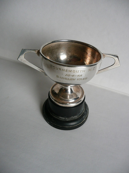 """Bingley Cree, April 18 1948 Trophy cup from the Bournemouth Motor Club, Dorset,England. This is now the """"Bournemouth and District Car Club"""" in West Parley, Dorset. Please visit them at: http://www.bdcc.org.uk/home.html"""