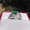 1.29ctw Emerald and Diamond Modified Halo Ring 20