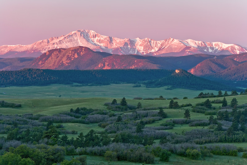 Pike's Peak at sunrise from Greenland Ranch between Denver and Castle Rock in Douglas County