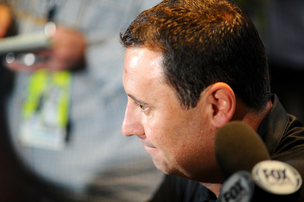 . USC Head Coach Steve Sarkisian fields questions during PAC-12 Football Media Day at the Paramount Theater in Los Angeles, Ca July 23, 2014.(Andy Holzman/Los Angeles Daily News)