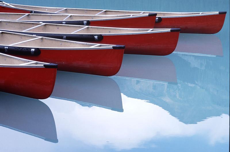 Lake Louise canoes, Canada