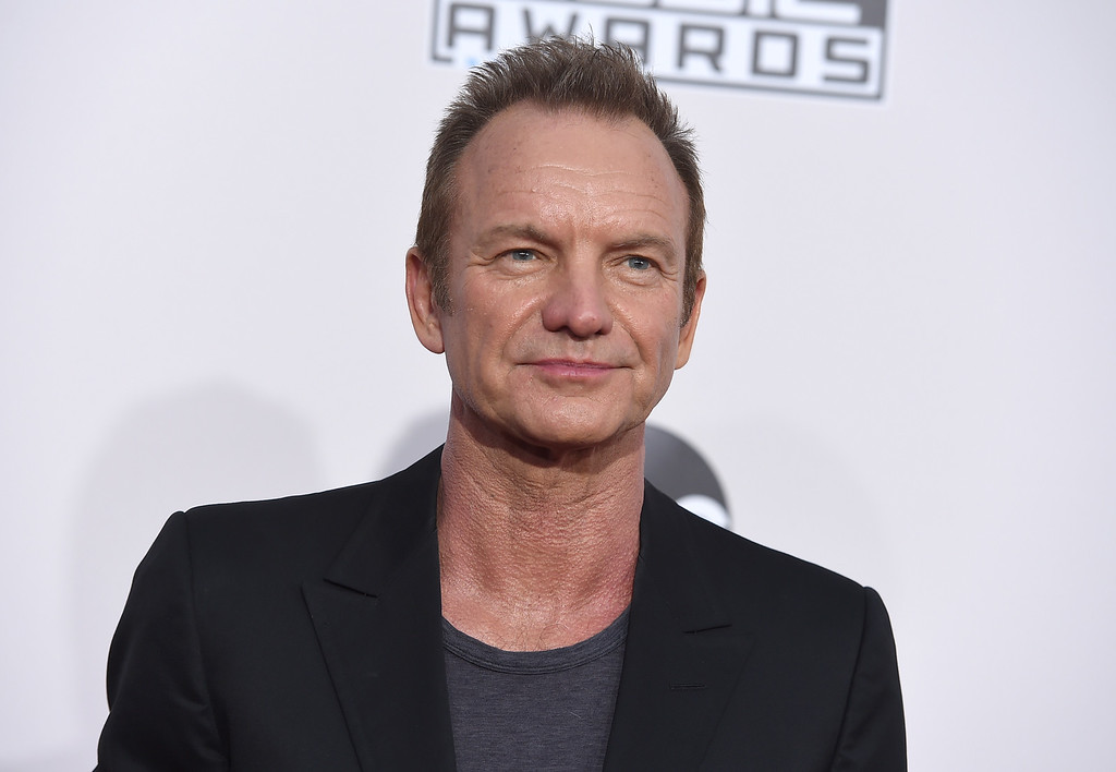 . Sting arrives at the American Music Awards at the Microsoft Theater on Sunday, Nov. 20, 2016, in Los Angeles. (Photo by Jordan Strauss/Invision/AP)