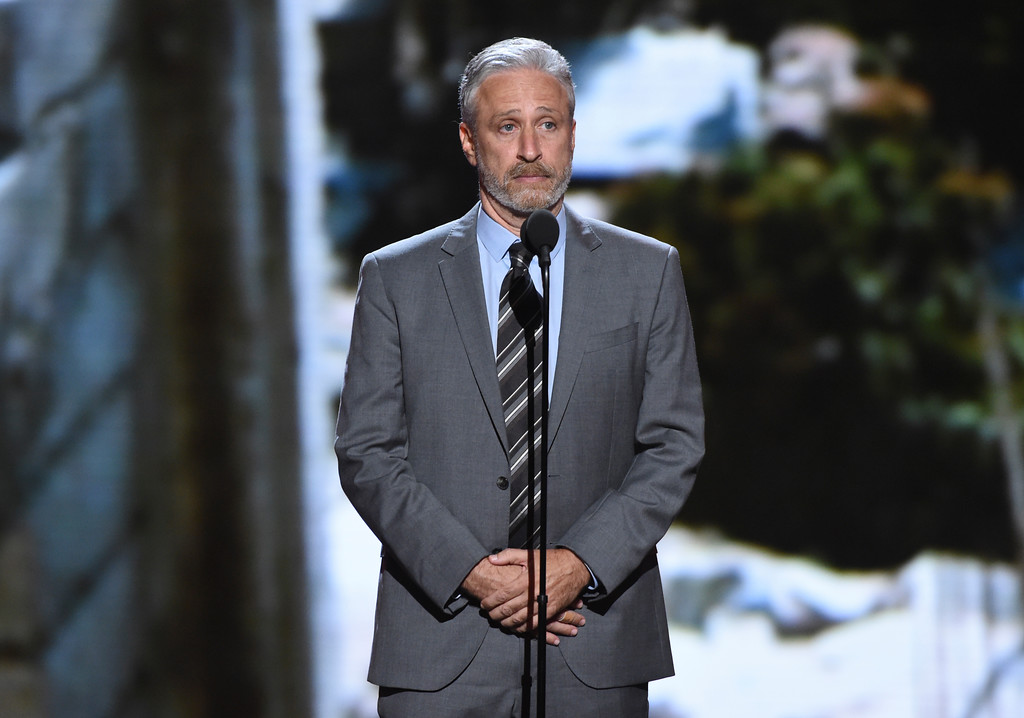 . Jon Stewart presents the Pat Tillman award for service at the ESPY Awards at Microsoft Theater on Wednesday, July 18, 2018, in Los Angeles. (Photo by Phil McCarten/Invision/AP)