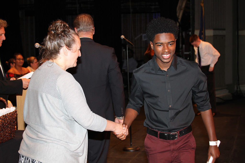 . Ulster BOCES Criminal Justice and Kingston City School District student Jeremiah Childs receives his certificate at the Career & Technical Center�s Achievement Ceremony.