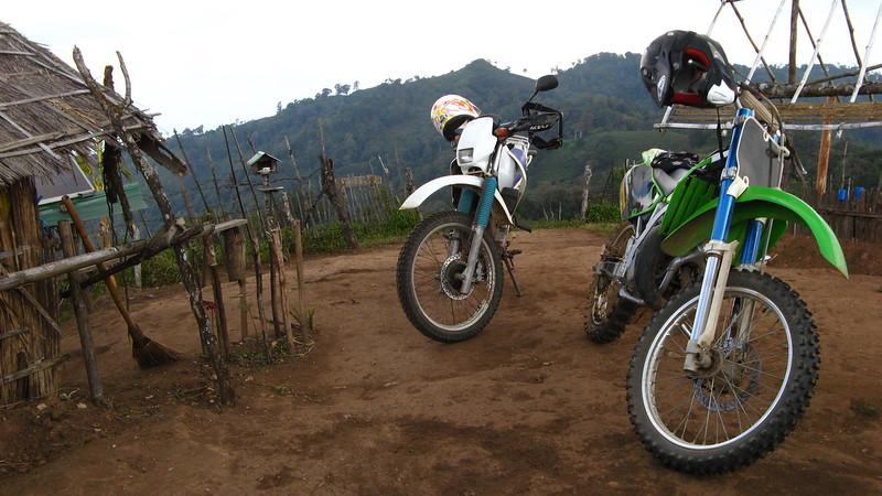 The bikes waiting at the base