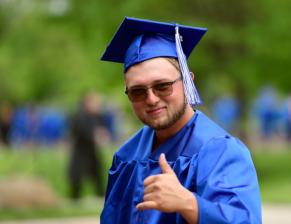 5/30/2019 Mike Orazzi | Staff Tunxis student Brian Douyard at CCSU for Thursday night's graduation ceremony in New Britain.