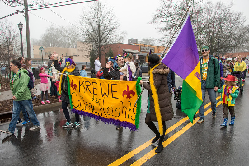 Krewe de College Heights are proud to march in the 2018 Mead Rd Mardi Gras parade