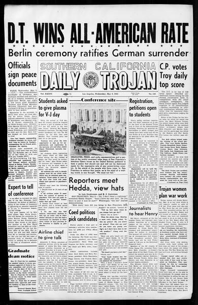Daily Trojan, Vol. 36, No. 118, May 09, 1945