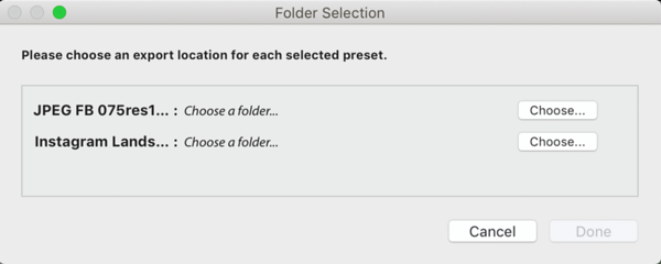 Choose the Export location for Multiple Presets