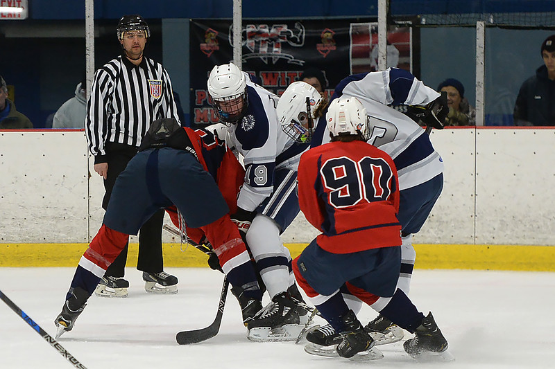 Manasquan High School and Wall Township High School Boy's Varsity Ice Hockey Teams squared off in a game played at the Jersey Shore Arena on 01/30/2019.